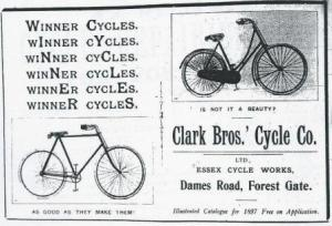Clark Bros cycle works advert, 1897 - FGN